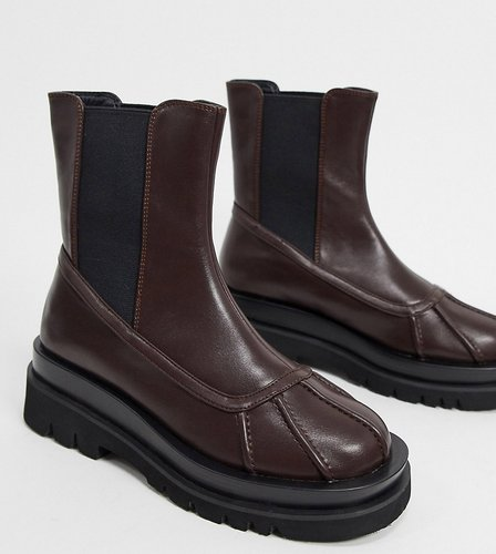 Exclusive Gila vegan-friendly chunky biker boots in chocolate-Brown