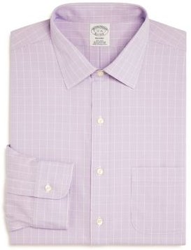 Puppytooth Plaid Regular Fit Dress Shirt