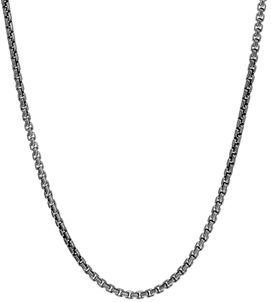 Sterling Silver with Satin Matte Black Rhodium Classic Chain Necklace, 26