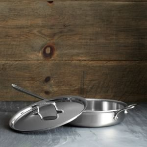 All Clad d5 Stainless Brushed 3 Quart Saute Pan with Lid