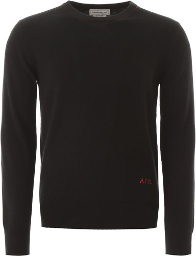 SWEATER WITH LOGO EMBROIDERY M Black, Red Cashmere