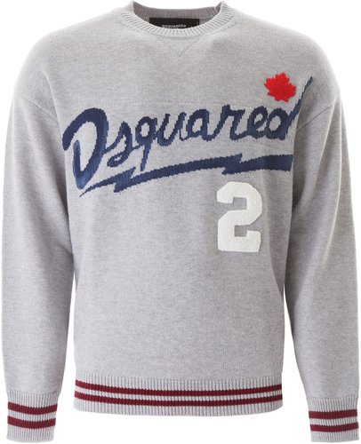 SWEATER WITH LOGO EMBROIDERY L Grey, Blue, Red Wool, Cotton