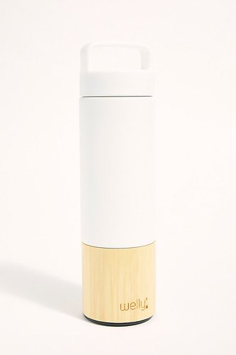 Bamboo Water Bottle by Welly at Free People, White, One Size