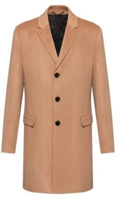 BOSS - Slim Fit Coat In Pure Cashmere With Signature Stitching - Light Brown