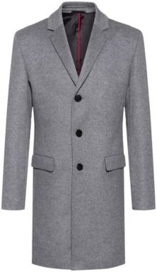 BOSS - Slim Fit Coat In A Wool Blend With Cashmere - Grey