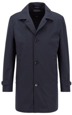 HUGO BOSS - Water Repellent Tab Collar Coat With Wool And Cotton - Dark Blue