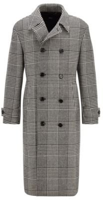 HUGO BOSS - Double Breasted Coat In A Checked Wool Blend - Black