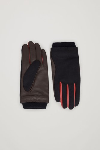 WOVEN-LEATHER CONTRAST PANEL GLOVES
