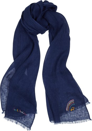 Mauve embroidered linen scarf