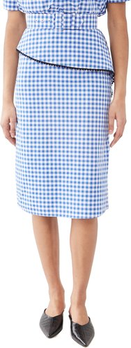 Gingham Skirt with Peplum Ruffle and Lace Trim (with Belt)