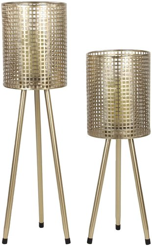Willow Row Tall Cylindrical Gold Mesh Metal Candle Holders on Tripod Bases - Set of 2 at Nordstrom Rack