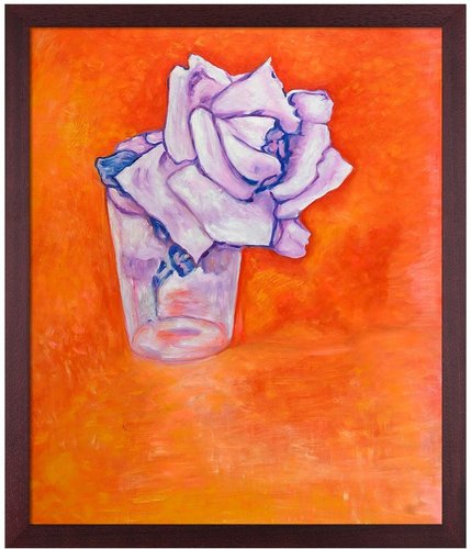 """Overstock Art White Rose in a Glass by Piet Mondrian Framed Hand Painted Oil Reproduction - 22.5"""" x 26.5"""" at Nordstrom Rack"""