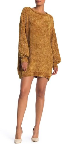 Angie Chenille Balloon Sleeve Sweater Dress at Nordstrom Rack