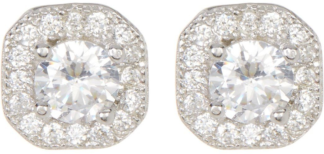 ADORNIA Sterling Silver Prong & Halo Set Swarovski Crystal Accented Stud Earrings at Nordstrom Rack