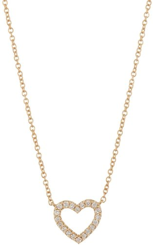 Bony Levy 18K Gold Open Heart Pave Diamond Heart Pendant Necklace - 0.09 ctw at Nordstrom Rack