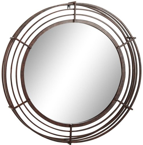 """Willow Row 31"""" Large Round Industrial Wrought Iron Bar Wall Mirror with Textured Bronze Finish at Nordstrom Rack"""