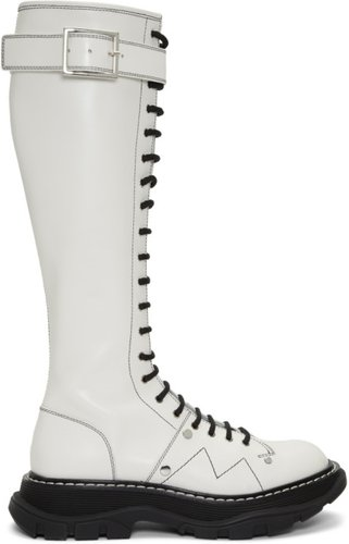 White Tread Lace-Up Tall Boots