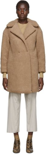 Beige Shearling Double Breasted Coat
