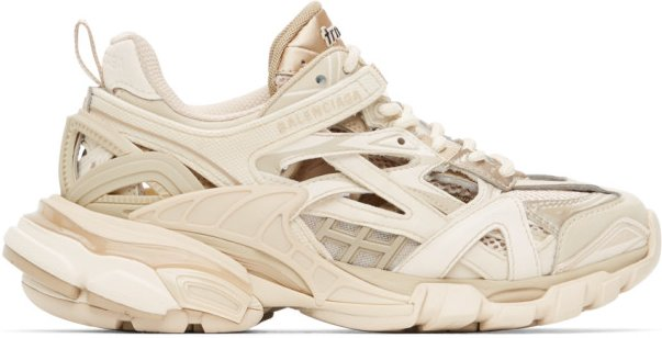 Tan and Off-White Track.2 Sneakers