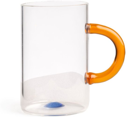 Glass Tea Cup With Yellow Handle