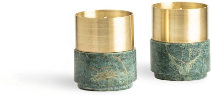 Brass Candle Holders Green Marble