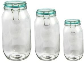 Hollydale Preserving-Storage Jar Set with Wire Bail and Trigger Closure, Set of 3