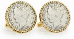 1883 First-Year-Of-Issue Liberty Nickel Rope Bezel Coin Cuff Links