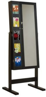 Deluxe Double Doors Jewerly Armoire Chevor Mirror with Photo Frame