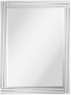 """Moderno Stepped Beveled Rectangle Wall Mirror, 40"""" x 30"""" x 1.18"""""""
