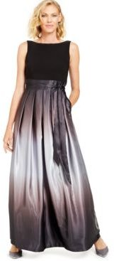 Ombre Satin Bow Sash Gown