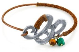 T.r.u. by 1928 Waxed Linen Wrapped Bangle Bracelet with Semi-Precious Tiger's Eye and Malachite