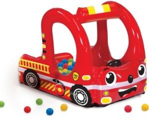 Banzai Rescue Fire Truck Play Center Inflatable Ball Pit -Includes 20 Balls