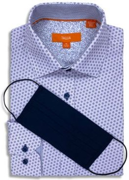 Receive a Free Face Mask with purchase of the Tallia Men's Slim-Fit Performance Stretch Floral Print Dress Shirt