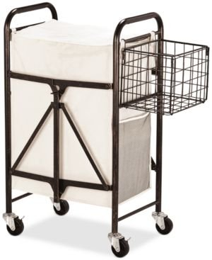 Gourmet Basics By Mikasa Collapsible Laundry Cart With Side Storage Basket