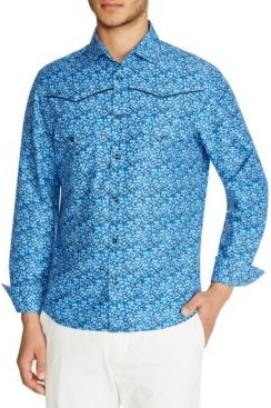 Slim-Fit Western Floral Shirt and a Free Face Mask With Purchase