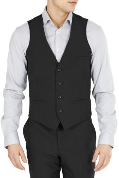 Slim-Fit Solid Wool Suit Vest, Created for Macy's