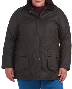 Plus Size Classic Beadnell Waxed Water-Resistant Cotton Coat