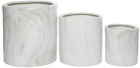 Tall, Cylindrical Marble Outdoor Planters, Set of 3