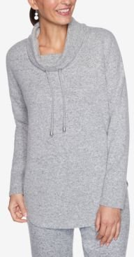 Cowl Neck Heather Knit Pullover