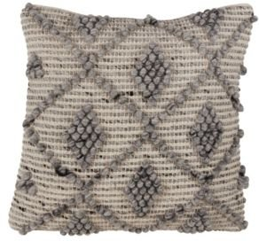 """Wool Blend Throw Pillow with Knotted Diamond Design, 18"""" x 18"""""""