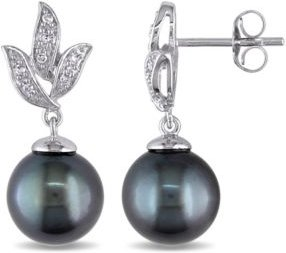 Tahitian Cultured Pearl (9-9.5mm) and Diamond (1/10 ct. t.w.) Floral Earrings in 10k White Gold