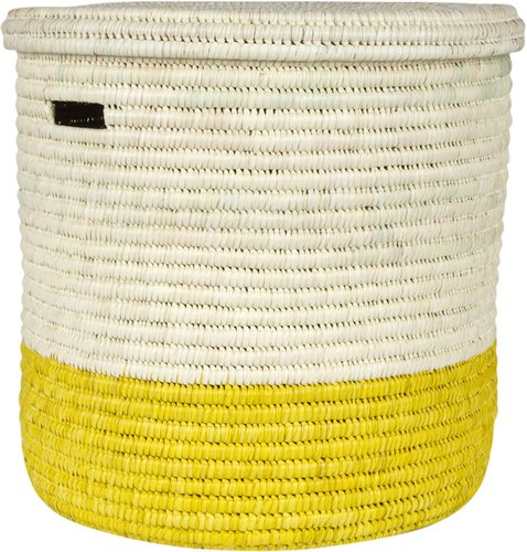 Vipi Hand Woven Color Block Laundry/Storage Basket - Yellow - M
