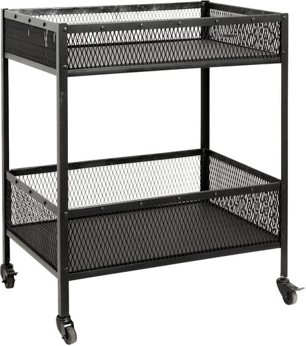 Iron Trolley with Baskets - Black - Large