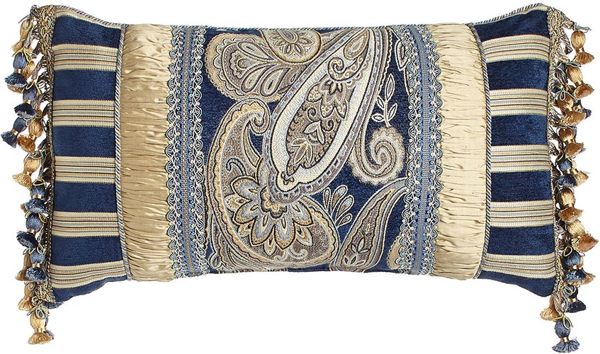 """Concord 13"""" x 24"""" Pieced Pillow with Onion Trim at Sides"""
