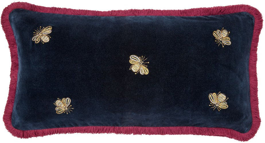 Embroidered Bee Fringe Pillow