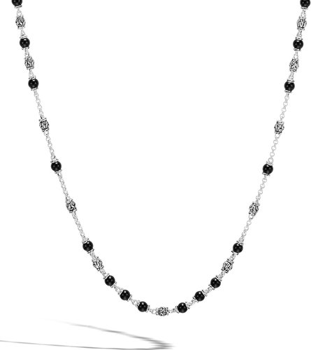 Modern Chain Silver & Onyx Bead Necklace