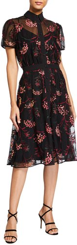Camille Sequin Floral Embroidered Shirtdress