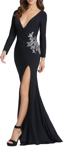 Plunging Long-Sleeve Bead-Embellished Jersey Gown