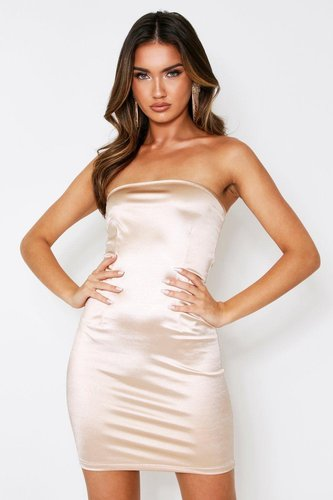 Stretch Satin Bandeau Mini Dress - Beige - 8