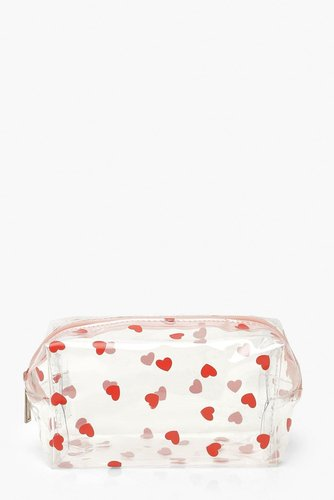 Valentines All Over Mini Heart Makeup Bag - white - ONE SIZE